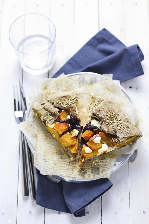 Squash, red onion and feta free-form tart