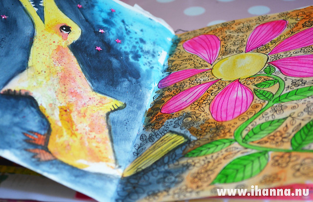 Peek into iHanna's Art Journal: Dino and flower from the side by iHanna of www.ihanna.nu