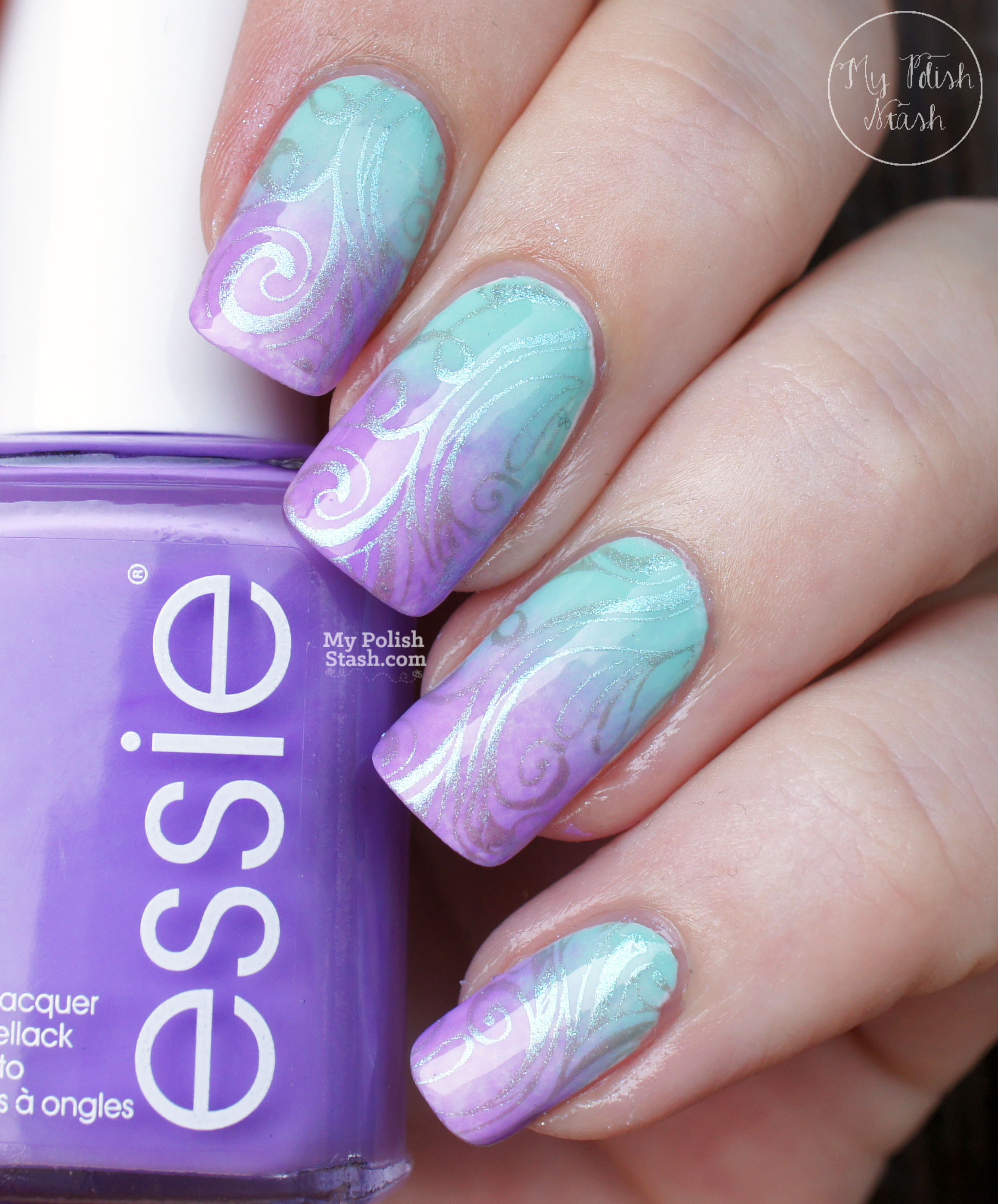 lilac-mint-gradient-nails-with-duochrome-stamping-shade