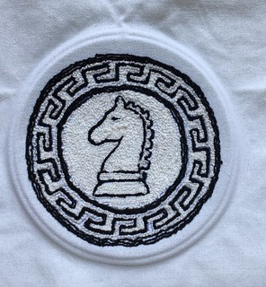 Needlepunch embroidery knight