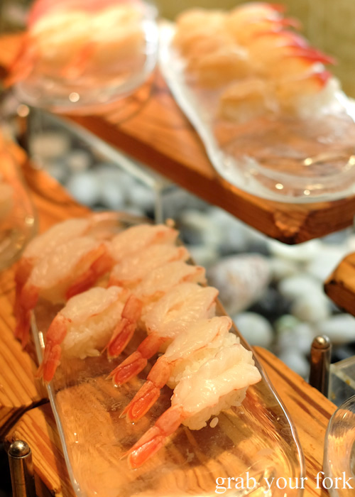 Raw prawn nigiri sushi at Nanda all-you-can-eat buffet in Sapporo