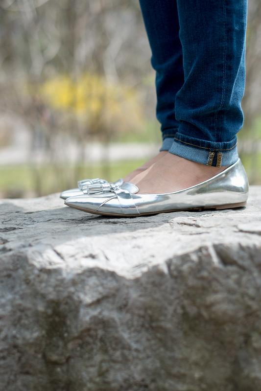 metallic silver tassel flats
