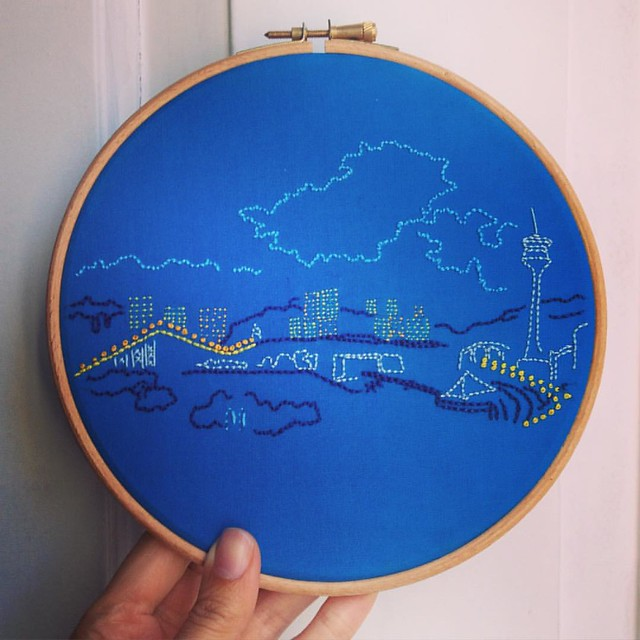 Here it is! It's October's project for the #airembroideryclub, based on a #sketch made from my friend @mar_photography_impressions 's balcony in #Macau. You can see the first bridge on the left and #macautower on the right. Join the club to stitch this pr