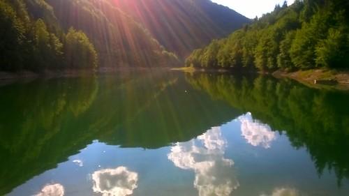 sky lake reflection clouds landscape
