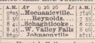 BandM Mechanicville Johnsonville 1926 Schedule