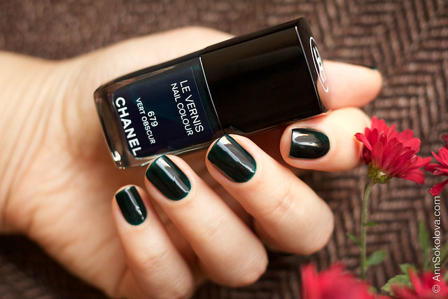 09 Chanel #679 Vert Obscur 2 coats swatches by Ann Sokolova
