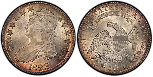 3051 1823 Capped Bust Half Dollar. O-110a