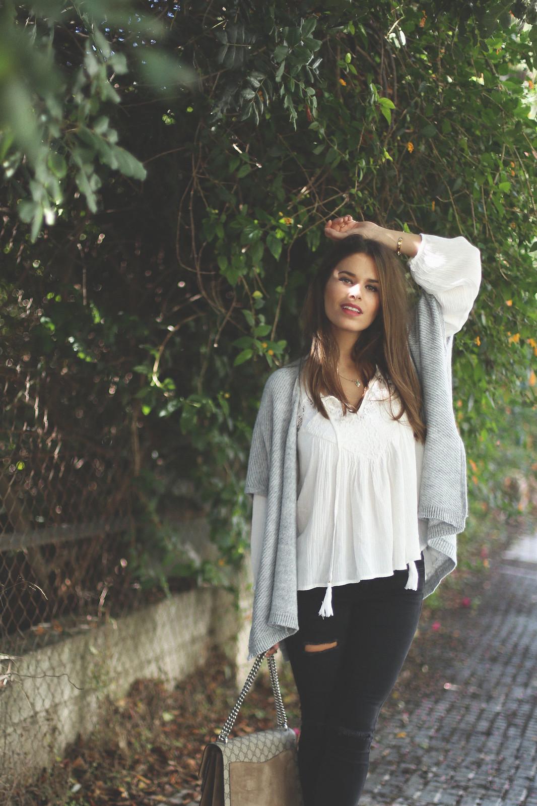 9. jessie chanes - grey poncho white boho blouse
