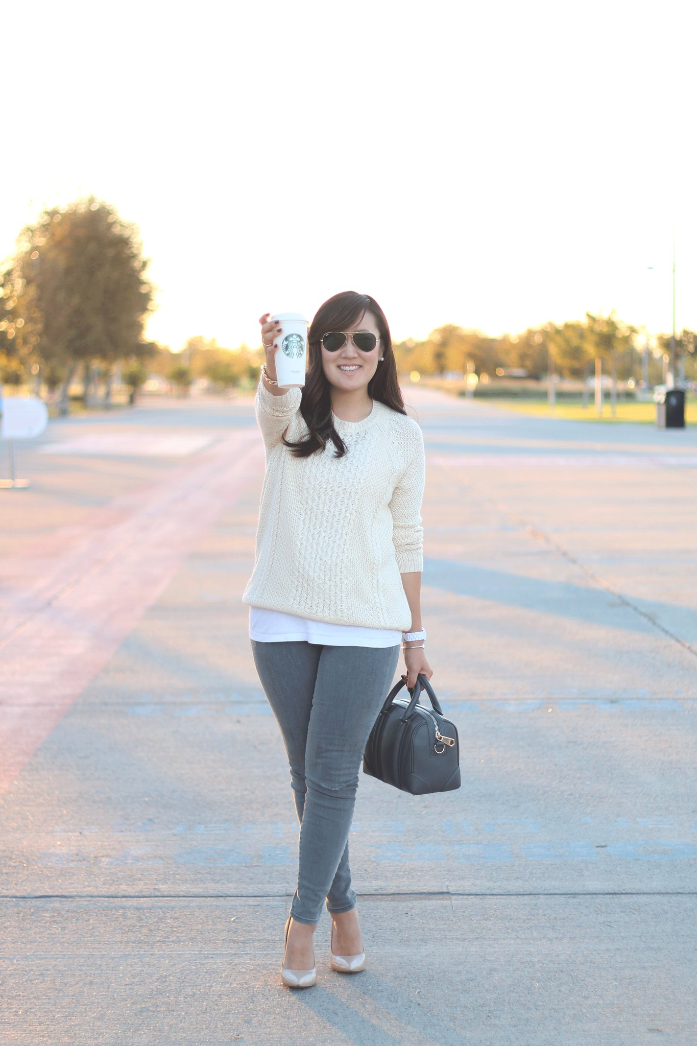 simplyxclassic, grey and cream outfit, fall outfit, steve madden pumps, gap jeans, grey jeans, forever21, mommy and me style, outfit, ootd, mommy blog, blogger, fashion, orange county, lifestyle