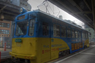 Tramcars at Ebisucho Stop on OCT 31, 2015 (2)