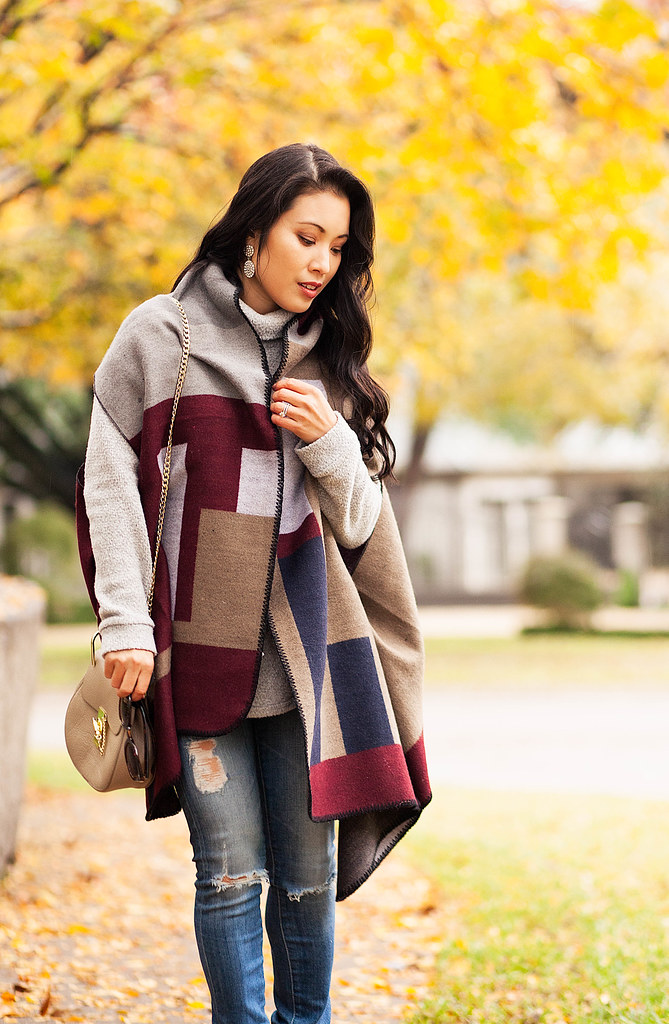 cute & little blog | petite fashion | grace color block cape, distressed jeans, burgundy ankle booties | fall winter outfit