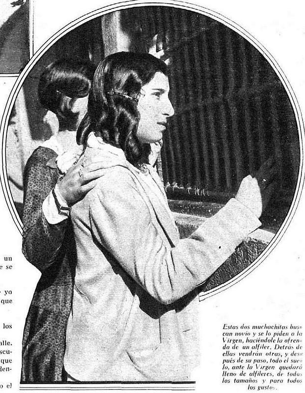 Reportaje sobre la Virgen de los Alfileritos en al revista Estampa el 9 de septiembre de 1930, escrito por José Díaz Morales