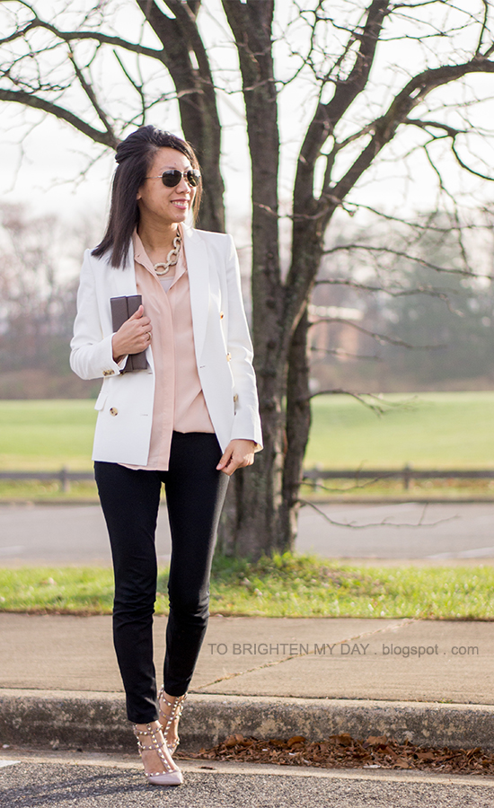gold pave chain statement necklace, white blazer, nude silk blouse, studded pumps