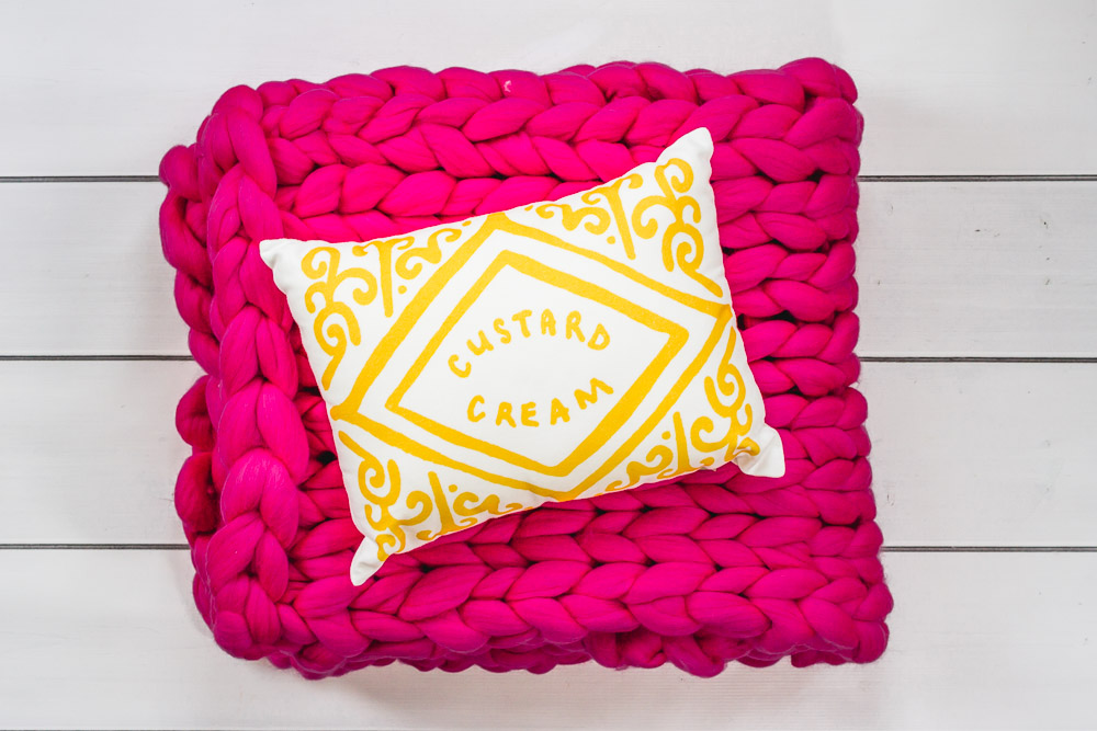 custard cream cushion nikki mcwilliams and woolcouturecompany chunky knit throw