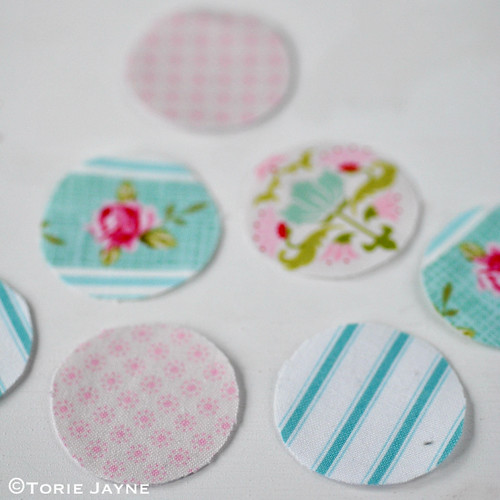 Pretty pastel fabric covered buttons 1