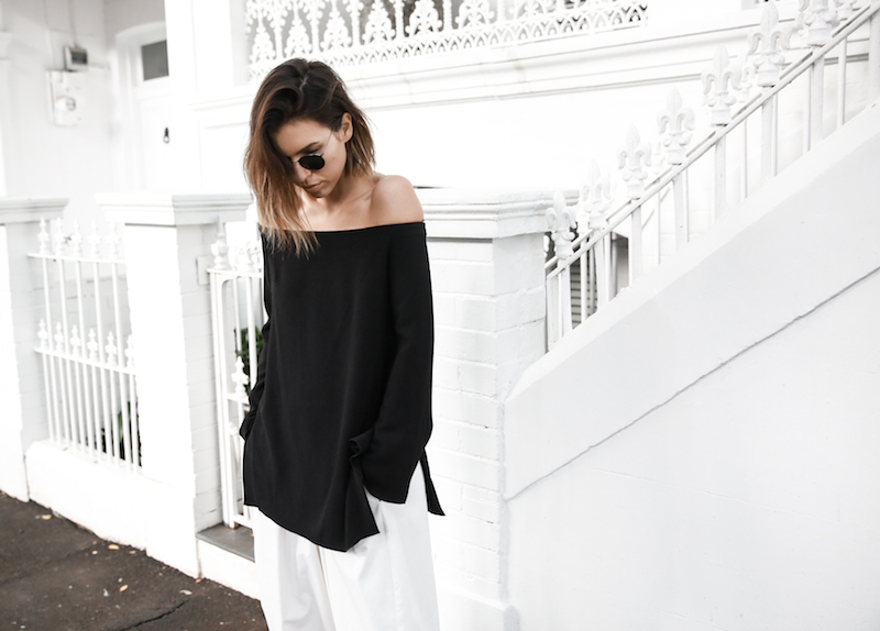 off shoulder top Ellery Queenie monochrome street style inspo black white Bassike pants ATP Rosa sandals Givenchy clutch resort off duty (1 of 4)