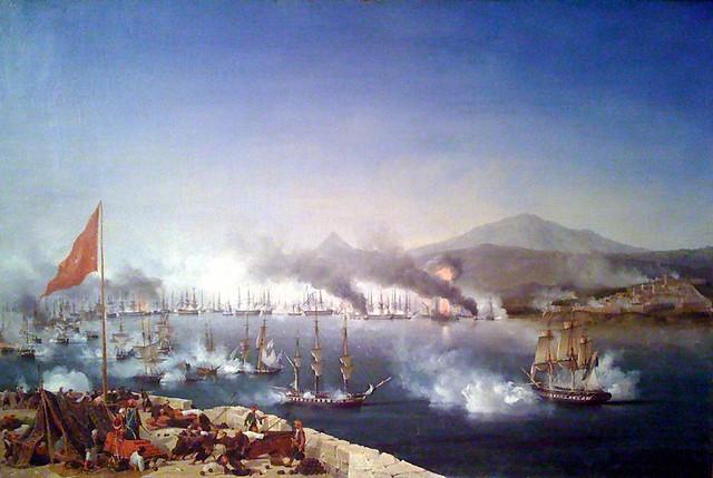 Η ναυαμαχία του Ναυαρίνου. Ελαιογραφία του Louis Ambroise Garneray, Εθνικό Ιστορικό Μουσείο-Ελλάς. (http://en.wikipedia.org/wiki/File:Navarin_Garneray.jpg)