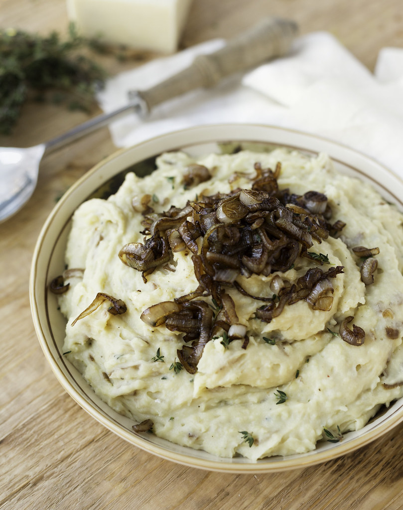 Caramelized Shallot and Cheddar Mashed Potatoes | Striped ...