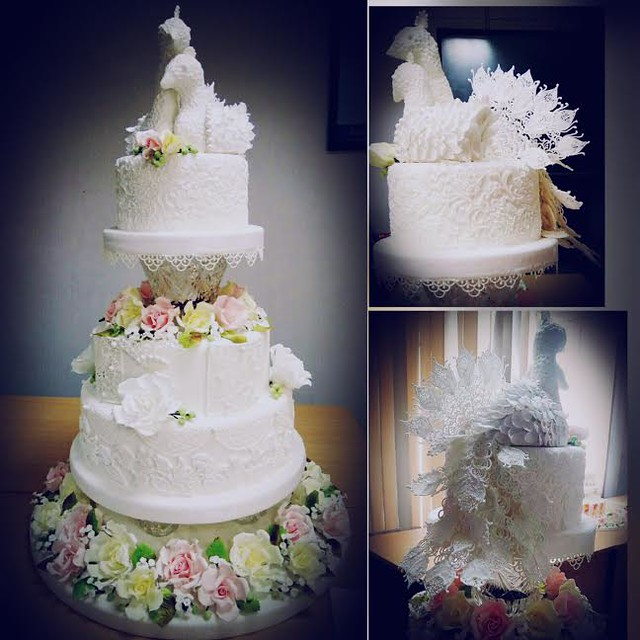 White Peacock Themed Wedding Cake by Vimarsha Hettiarachchi