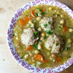 Dumpling stew with chickpeas and fennel