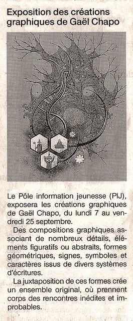 Article de Ouest-France annonçant mon exposition au Moulin de Blanchardeau à Lanvollon