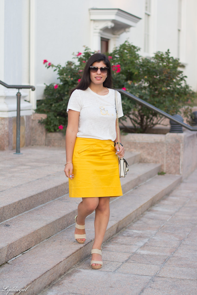 ampersand tee, yellow pencil skirt, studded bag-1.jpg
