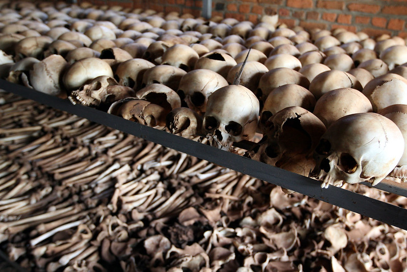 Human bones at the Rwandan Genocide Memorial