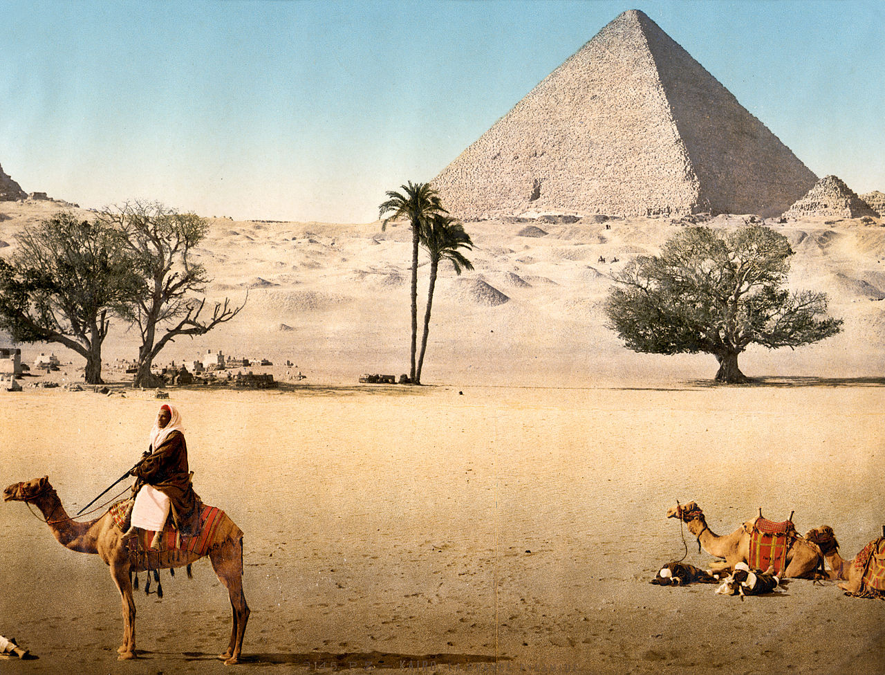 Resting Bedouins and the Grand Pyramid, Cairo, Egypt