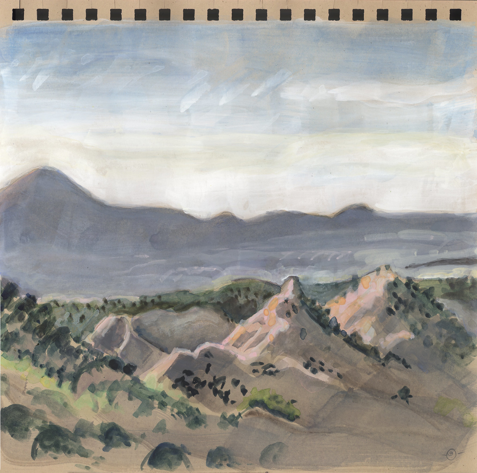 Foothills of Sangre de Cristo Mountains, Jemez Mountains beyond.