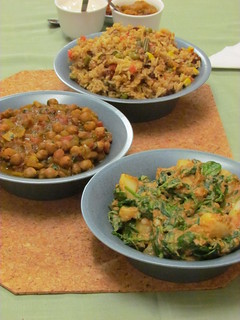 Indian Buffet Trio: Saag Aloo, Chana Masala, and Vegetable Biryani