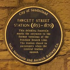 Photo of Fawcett Street railway station blue plaque