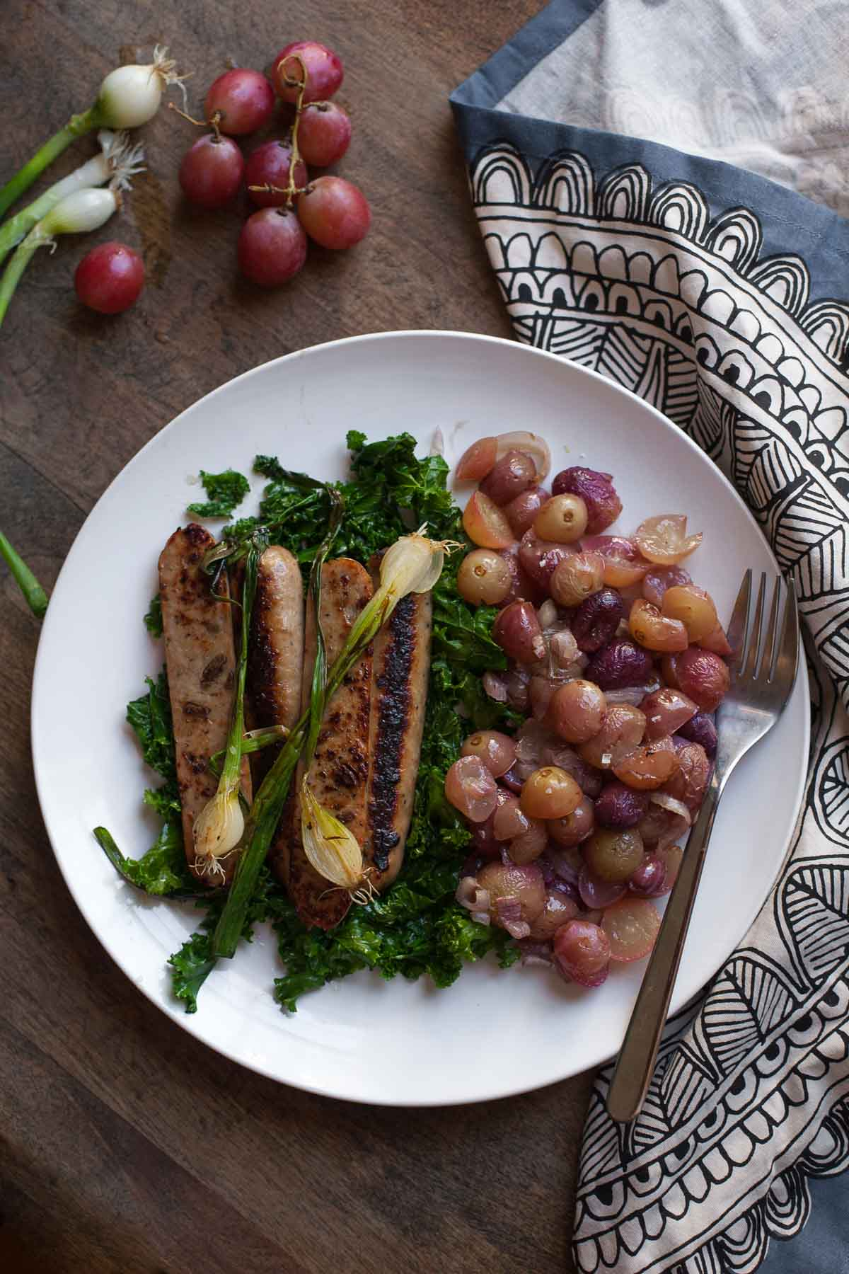 Chicken Apple Sausage with Kale and Roasted Grapes | acalculatedwhisk.com
