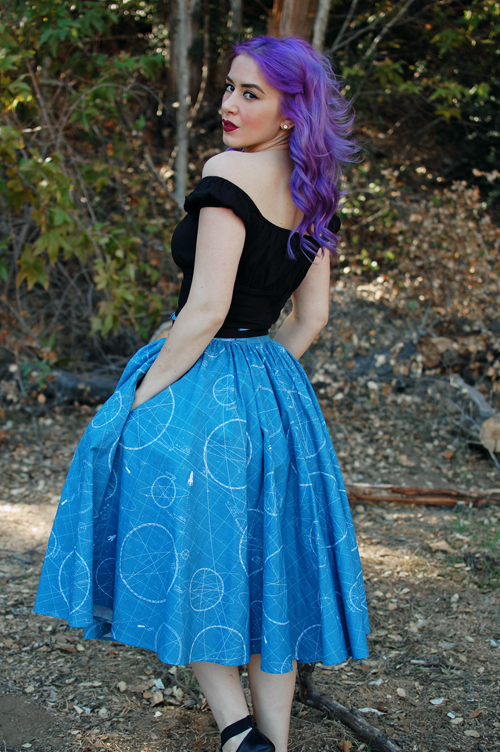 Lil' Lou Lou Rocket Science Skirt Pinup Girl Clothing Pinup Couture Peasant Top in Black