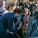 Prime Minister Justin Trudeau and his wife Sophie are greeted by well-wishers outside of Rideau Hall following the swearing-in ceremony. November 4, 2015.