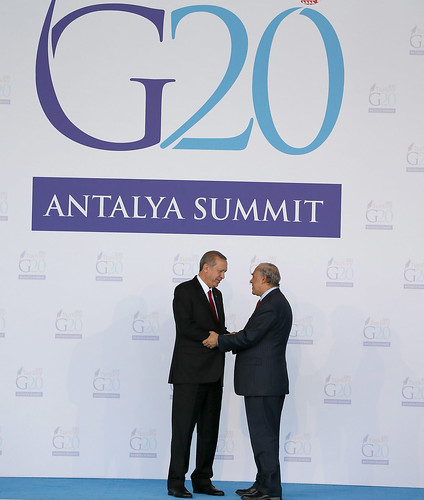 G-20 Summit in Antalya: Tayyip Erdoğan, President of Turkey and Angel Gurria, Secretary-General of the OECD