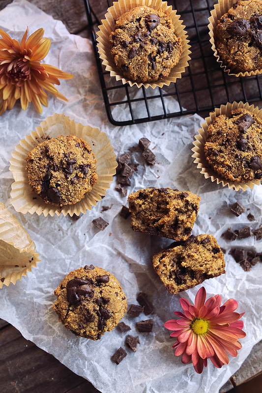 Grain-Free Pumpkin Chocolate Chunk Muffins