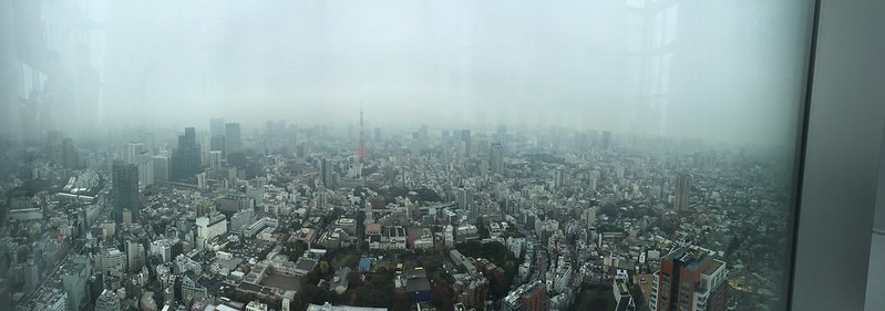 View of Tokyo and Tokyo Tower from Roppongi Hills Mori Tower Observation Floor.