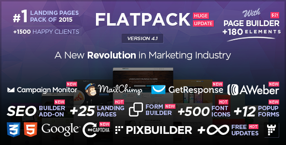 Themeforest FLATPACK v4.1 - Landing Pages Pack With Page Builder