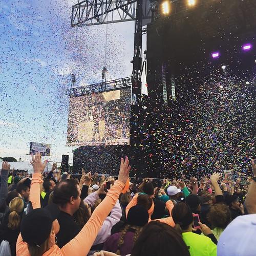 Confetti at the Kid Rock concert.