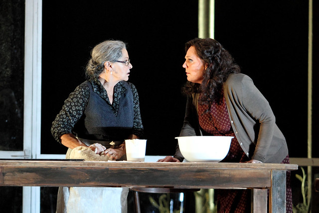 Elena Zilio as Mama Lucia and Eva-Maria Westbroek as Santuzza in Cavalleria rusticana © 2015 ROH. Photograph by Catherine Ashmore