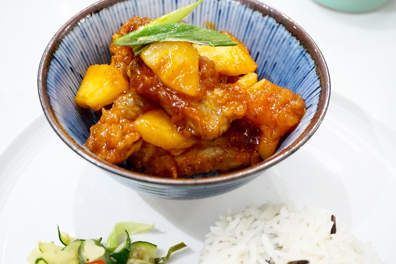 sweet and sour pork with stir fried courgette katelouiseblog