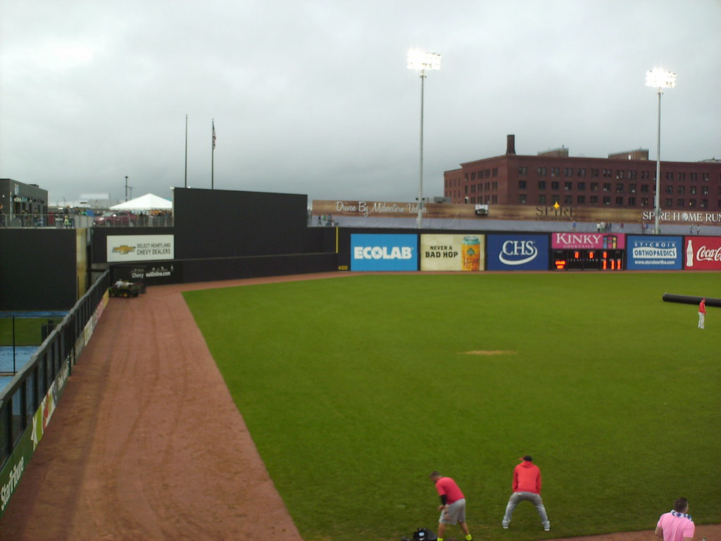 chs field in the ballparks the outfield wall features several sharp corners a drastic change in height in right field and a line scoreboard on the right field fence