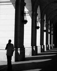 Shadows. Covered walkways are rare in America these days, but the few that can still be found offer  dramatic views during sunny days. Washington, DC Union Station.