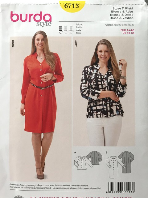 Burda 6713 envelope pattern, dress or blouse