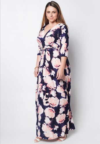 LOVE CURVES CLOTHING BY JGO peach roses dress
