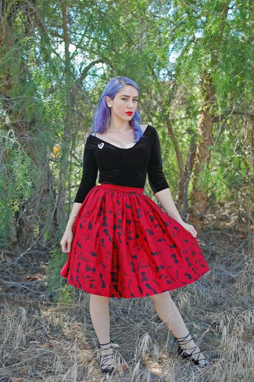 Pinup Girl Clothing Deadly Dames Darling Dames Skirt in Fetish Print