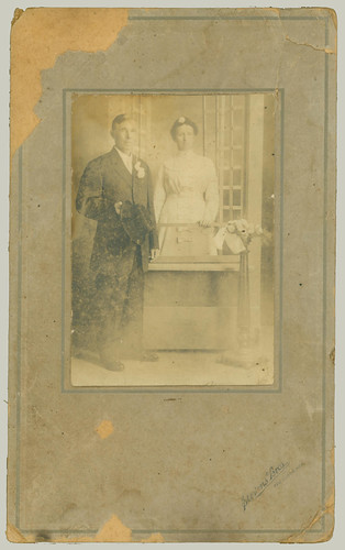 Card mounted portrait of couple