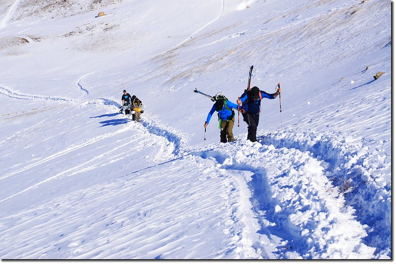 Skiers on their way up the Ridge 4