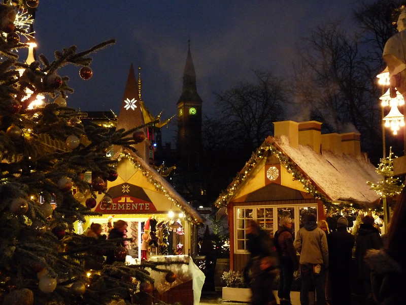 Christmas market in Copenhagen, Denmark. Credit Judith, flickr