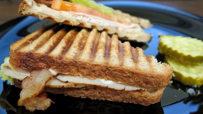 Pepperjack cheese, turkey, and bacon panini